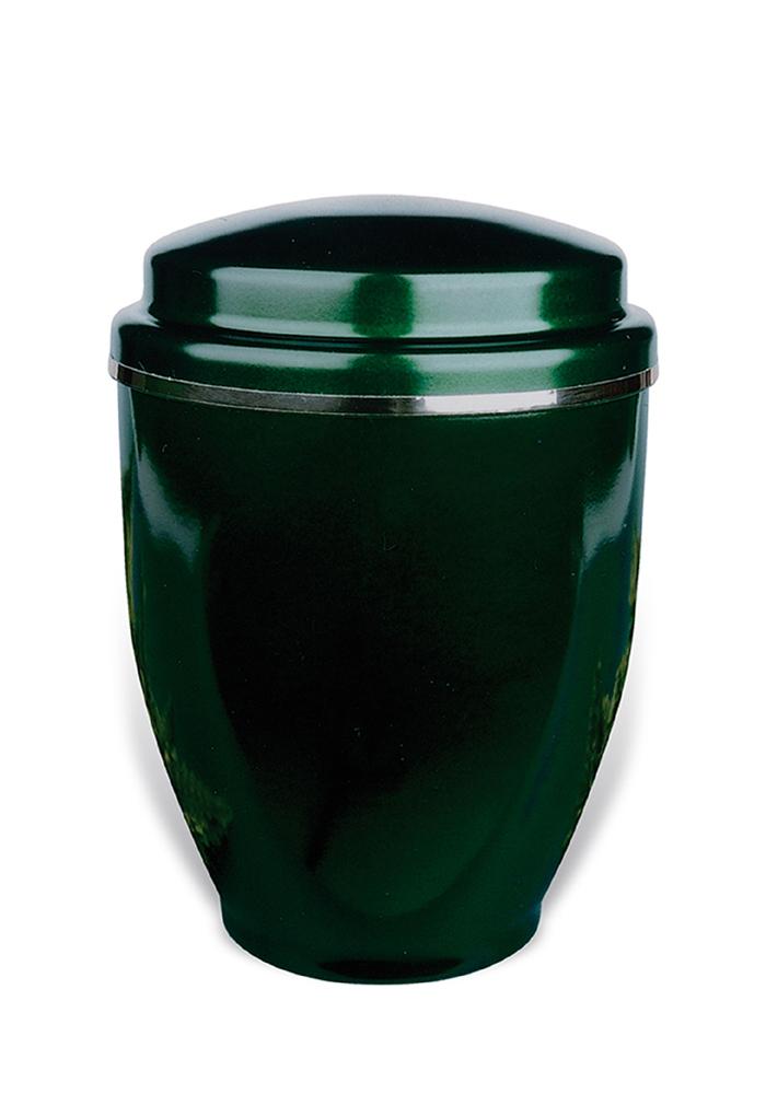 donker groene sier urn van metaal