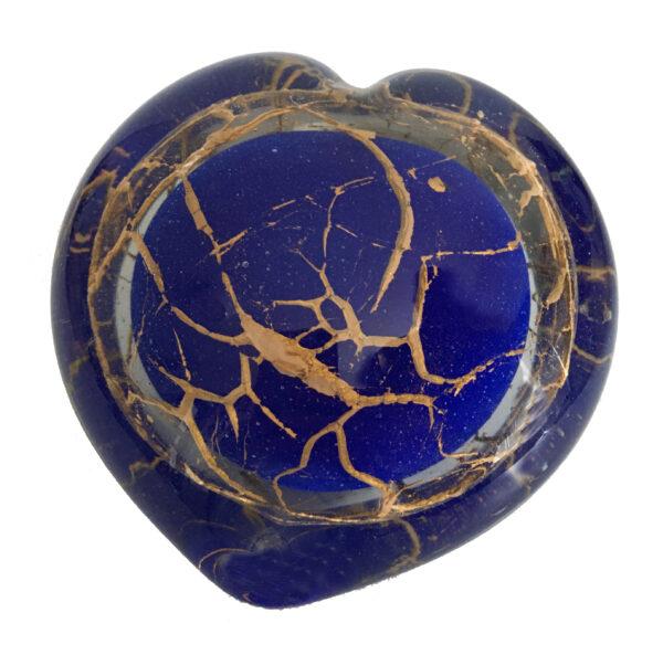urn glas blauw/goud 150 ml 9 cm